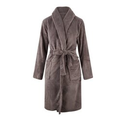 Relax Company fleece badjas taupe/grijs