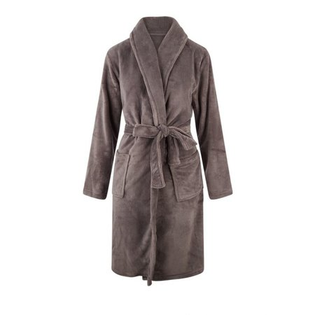 Relax Company Relax Company fleece badjas taupe/grijs