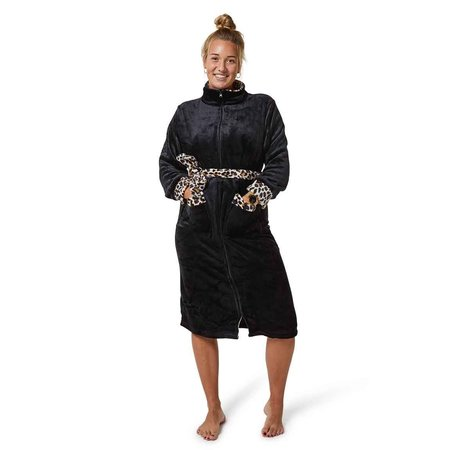 Badrock zwarte badjas met panterdetails