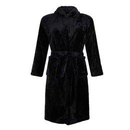 Badrock badjas kind Tiener zwart met capuchon - fleece