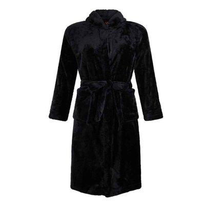 badjas kind Tiener zwart met capuchon - fleece