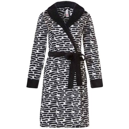Rebelle  badjas dames zwart wit fleece