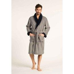 Eskimo badjas heren  grijs ruit met sjaalkraag