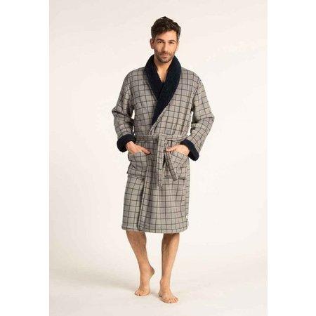 Badjas heren grijs ruit met sjaalkraag