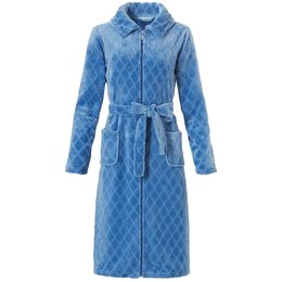 Pastunette licht blauwe damesbadjas met rits