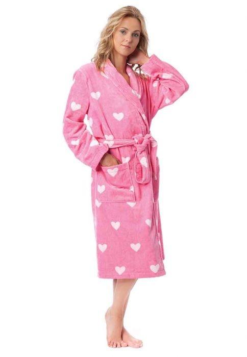 Roze damesbadjassen vol liefde