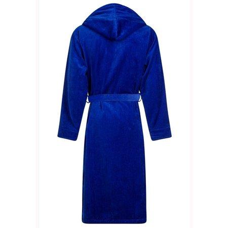 badjas unisex kobaltblauw velours met capuchon