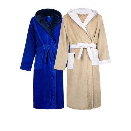 Badrock badjas badjas unisex kobaltblauw velours met capuchon