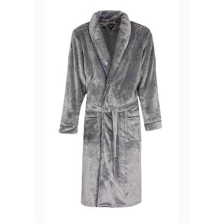Paul Hopkins badjas heren lichtgrijs fleece met sjaalkraag