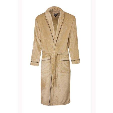 Paul Hopkins badjas heren beige fleece met sjaalkraag