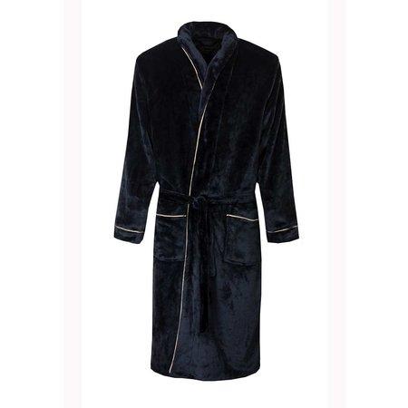 Paul Hopkins badjas heren marine fleece met sjaalkraag