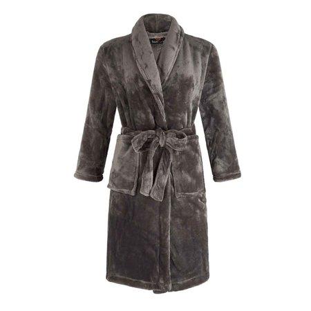 Badrock badjas grijze kinderochtendjas fleece