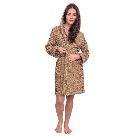 Lasa  badjas dames luipaard rib-velours