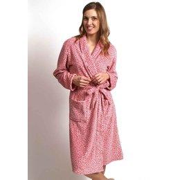 Ochtendjas dames luipaard roze - flanel fleece