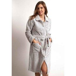 Lichtgrijze fleece badjas knopen