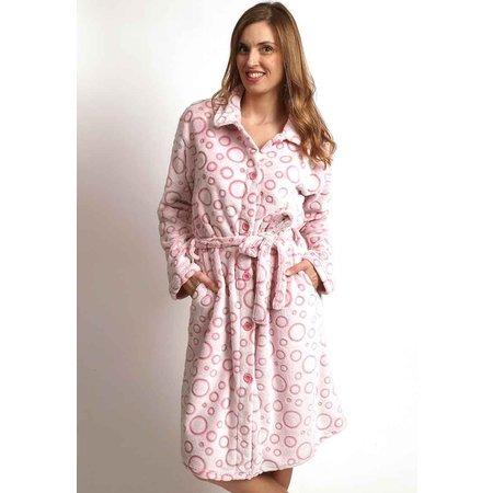 Zacht roze badjas met knopen