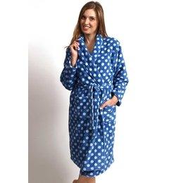 Fleece damesbadjas stip - met sjaalkraag