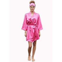 Satin-Luxury badjas Satin-Luxury korte kimonobadjas satijn - donker roze
