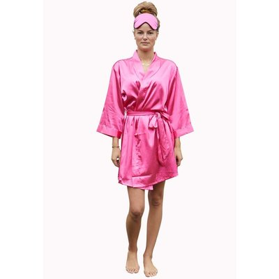 Satin-Luxury Satin-Luxury korte kimonobadjas satijn - donker roze