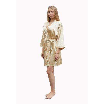 Satin-Luxury badjas Satin-Luxury korte kimonobadjas satijn - champagne