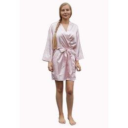 Satin-Luxury korte kimonobadjas satijn - licht roze