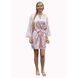 Satin-Luxury Satin-Luxury korte kimonobadjas satijn - licht roze