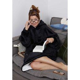 Badrock badjas Luxe snuggie deken met capuchon - zwart
