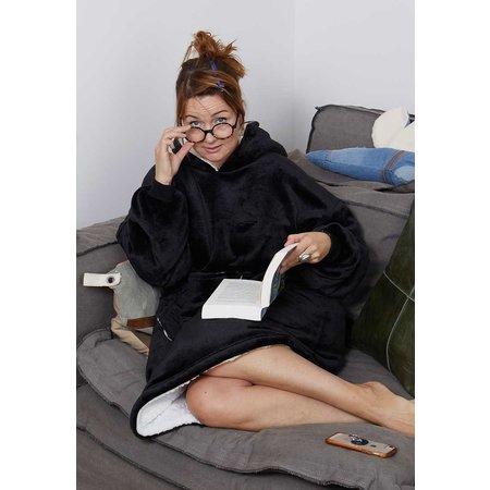 Badrock Luxe snuggie deken met capuchon - zwart