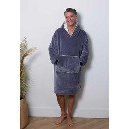 Badrock badjas Luxe snuggie deken met capuchon - antraciet