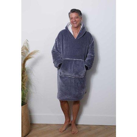 Luxe snuggie deken met capuchon - antraciet