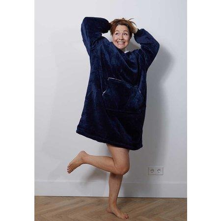 Badrock badjas Luxe snuggie deken met capuchon - marine