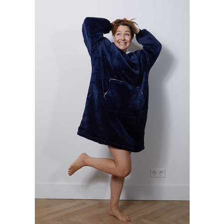 Luxe snuggie deken met capuchon - marine