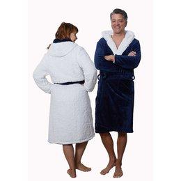 Capuchon badjas sherpa - marineblauw
