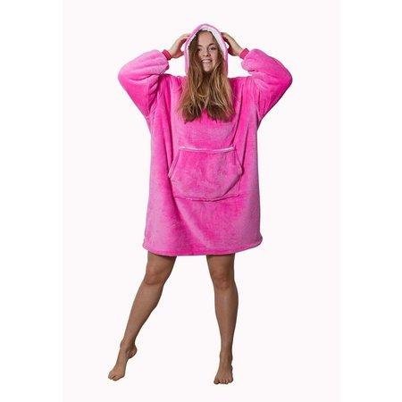 Badrock badjas Luxe snuggie deken met capuchon - roze