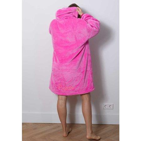 Luxe snuggie deken met capuchon - roze