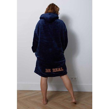 Badrock Luxe snuggie deken met capuchon - marine