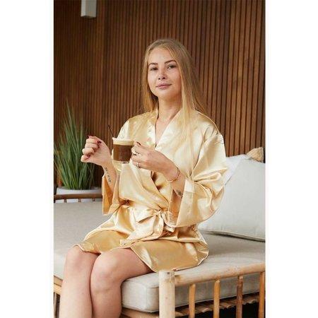 Satin-Luxury Korte kimonobadjas satijn - champagne