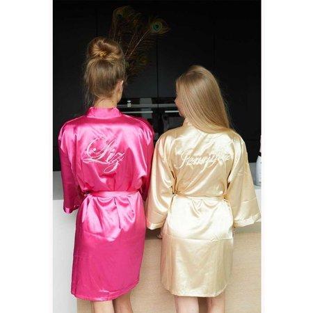Satin-Luxury korte kimonobadjas satijn donkerroze