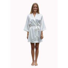Satin-Luxury badjas Satin-Luxury korte kimonobadjas satijn - wit