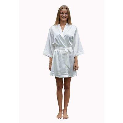 Satin-Luxury korte kimonobadjas satijn - wit
