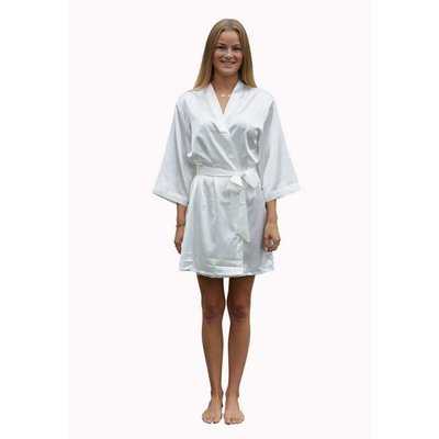 Satin-Luxury Satin-Luxury korte kimonobadjas satijn - wit