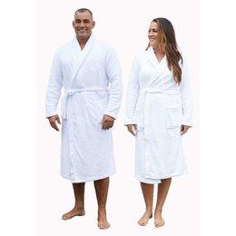 Relax Company  fleece badjas wit - unisex model
