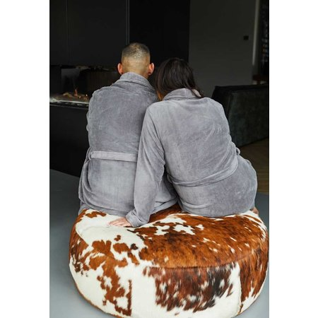 Relax Company badjas Relax Company fleece badjas taupe/grijs
