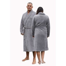 Relax Company badjas fleece badjas taupe/grijs