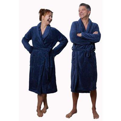Relax Company badjas fleece badjas marine blauw