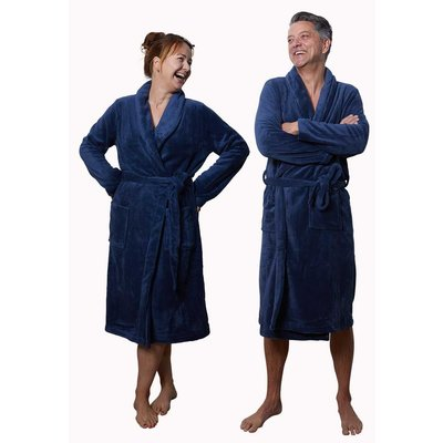 Relax Company fleece badjas marine blauw