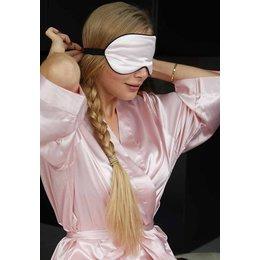 Satin-Luxury badjas Oogmasker licht roze satijn