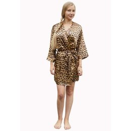 Satin-Luxury badjas Satijnen dames kimono panter