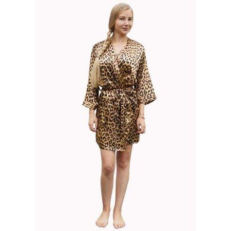 Satin-Luxury Satijnen dames kimono panter