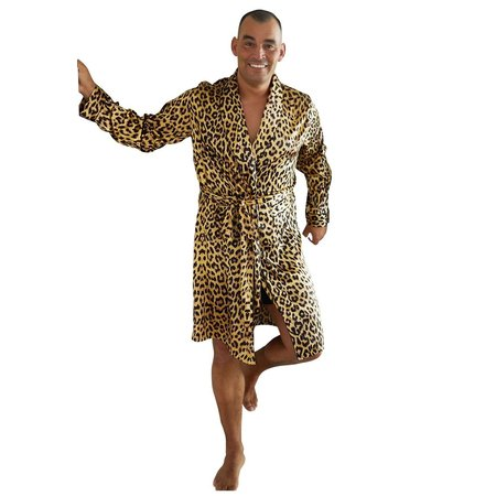 Satin-Luxury Satijnen herenbadjas luipaard